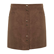 Buy Miss Selfridge Suedette Popper Skirt, Tan Online at johnlewis.com