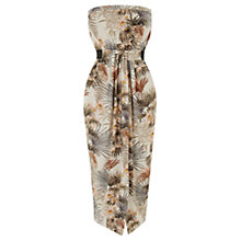 Buy Warehouse Tropical Palm Print Midi Dress, Neutral Online at johnlewis.com