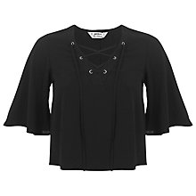 Buy Miss Selfridge Petite Lace Up Top, Black Online at johnlewis.com