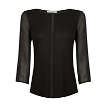 Buy Oasis Piped Chiffon Blouse, Black Online at johnlewis.com