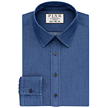 Buy Thomas Pink Caldicot Plain Super Slim Fit Shirt, Navy Online at johnlewis.com