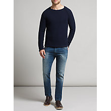 Buy BOSS Orange Crew Neck Jumper, Dark Blue Online at johnlewis.com