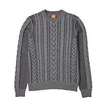 Buy BOSS Orange Kaas Cable Knit Jumper, Light Pastel Grey Online at johnlewis.com