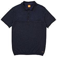 Buy BOSS Orange Kalessandro Cotton Knitted Polo Shirt, Dark Blue Online at johnlewis.com