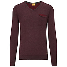 Buy BOSS Orange Kelpen Pocket Jumper, Dark Pink Online at johnlewis.com