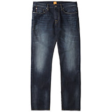 Buy BOSS Orange Straight Leg Jeans, Dark Blue Online at johnlewis.com