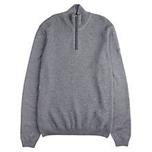 Buy BOSS Green C-Chris Virgin Wool Zip Jumper, Medium Grey Online at johnlewis.com