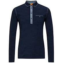 Buy BOSS Orange Patcherman Long Sleeve Polo Shirt, Blue Online at johnlewis.com