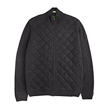 Buy BOSS Green C-Curtis Quilted Lambswool Cardigan, Charcoal Online at johnlewis.com