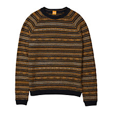 Buy BOSS Orange Arentino Stripe Fairisle Jumper, Medium Orange Online at johnlewis.com