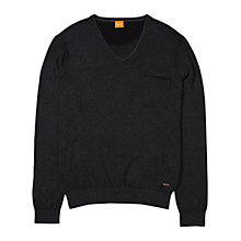 Buy BOSS Orange Kelpen Stripe Pocket Crew Jumper, Black Online at johnlewis.com