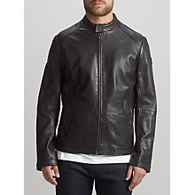 Buy BOSS Orange Jelon Sheepskin Leather Biker Jacket, Black Online at johnlewis.com