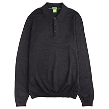 Buy BOSS Green C-Camus Wool Button Jumper, Charcoal Online at johnlewis.com