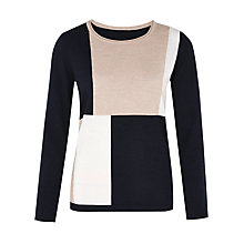Buy Viyella Colour Block Pure Merino Jumper, Multi/Navy Online at johnlewis.com