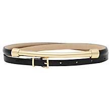 Buy Reiss Leather Metal Front Belt, Black Online at johnlewis.com