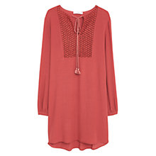 Buy Mango Embroidered Dress, Medium Red Online at johnlewis.com