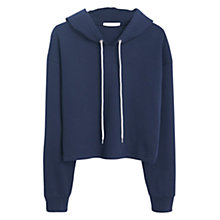 Buy Mango Cropped Cotton Hoodie, Navy Online at johnlewis.com