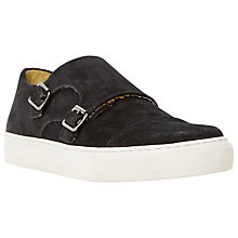 Buy Bertie Bandit Double Buckle Suede Trainers, Black Online at johnlewis.com