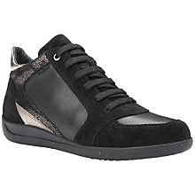 Buy Geox Myria Lace Up High Top Trainers, Black Leather Online at johnlewis.com
