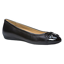 Buy Geox Lola Flat Bow Detail Ballerina Pumps, Black Leather Online at johnlewis.com