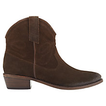 Buy Jigsaw Selby Block Heeled Western Style Ankle Boots, Chocolate Suede Online at johnlewis.com