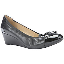 Buy Geox Floralie Wedge Heeled Ballet Pumps, Black Leather Online at johnlewis.com