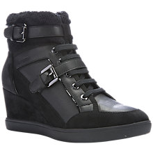 Buy Geox Eleni Buckle Detail Wedge Heeled Trainers, Black Leather Online at johnlewis.com