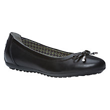 Buy Geox Piuma Flat Heeled Pumps, Black Leather Online at johnlewis.com