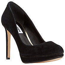 Buy Dune Amber Platform High Heeled Court Shoes, Black Suede Online at johnlewis.com