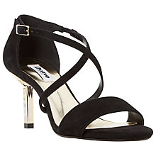 Buy Dune Mindee Diamanté Strappy Stiletto Suede Sandals, Black Online at johnlewis.com