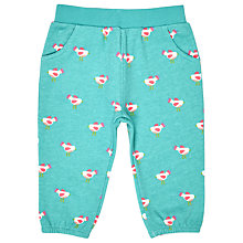 Buy John Lewis Baby Bird Print Jersey Harem Trousers, Green Online at johnlewis.com
