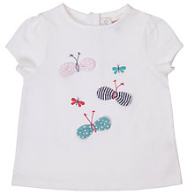 Buy John Lewis Baby Bows And Butterflies T-Shirt, Cream Online at johnlewis.com