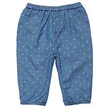 Buy John Lewis Baby Chambray Gold Spot Trousers, Blue Online at johnlewis.com