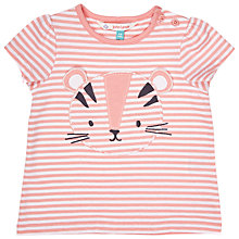 Buy John Lewis Baby Stripe Tiger T-Shirt, Pink Online at johnlewis.com