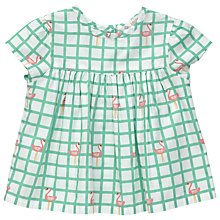 Buy John Lewis Baby Flamingo Blouse, Cream/Green Online at johnlewis.com