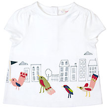 Buy John Lewis Baby Birds In The City Border T-Shirt, Cream Online at johnlewis.com