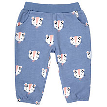 Buy John Lewis Baby Tiger Jersey Trousers, Blue Online at johnlewis.com