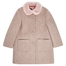 Buy Jigsaw Junior Girls' Faux Fur Trim Coat, Pink Online at johnlewis.com