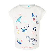 Buy John Lewis Girls' Embroidered Dinosaur T-Shirt, White Online at johnlewis.com