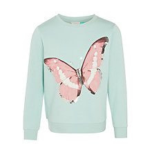 Buy John Lewis Girls' Butterfly Print Sweatshirt, Green Online at johnlewis.com