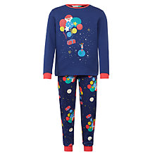 Buy John Lewis Man on the Moon Glow in the Dark Christmas Pyjamas, Navy/Multi Online at johnlewis.com