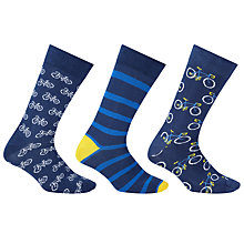 Buy John Lewis Bicycle Socks, Pack of 3, Blue Online at johnlewis.com