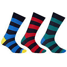 Buy John Lewis Bright Rugby Stripe Socks, Pack of 3, Blue/Red/Green Online at johnlewis.com