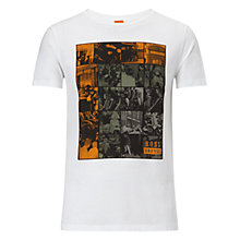 Buy BOSS Orange Timblin 1 Mosaic Photo T-Shirt, White Online at johnlewis.com