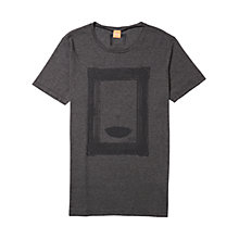 Buy BOSS Orange Taneo 1 Framed Umbrella Print T-Shirt, Black Online at johnlewis.com