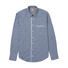 Buy BOSS Orange Cieloebue Gingham Check Shirt, Dark Blue Online at johnlewis.com