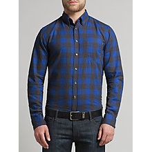 Buy BOSS Orange Esecrete Check Slim Fit Shirt, Medium Blue Online at johnlewis.com