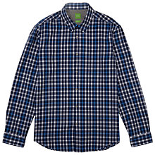 Buy BOSS Green C-Bavol Check Shirt, Bright Blue Online at johnlewis.com