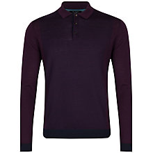 Buy Ted Baker Waywin Colour Block Wool Collared Jumper, Dark Red Online at johnlewis.com
