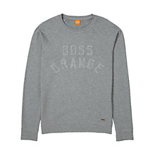 Buy BOSS Orange Wilkens Logo Sweatshirt, Light Pastel Grey Online at johnlewis.com